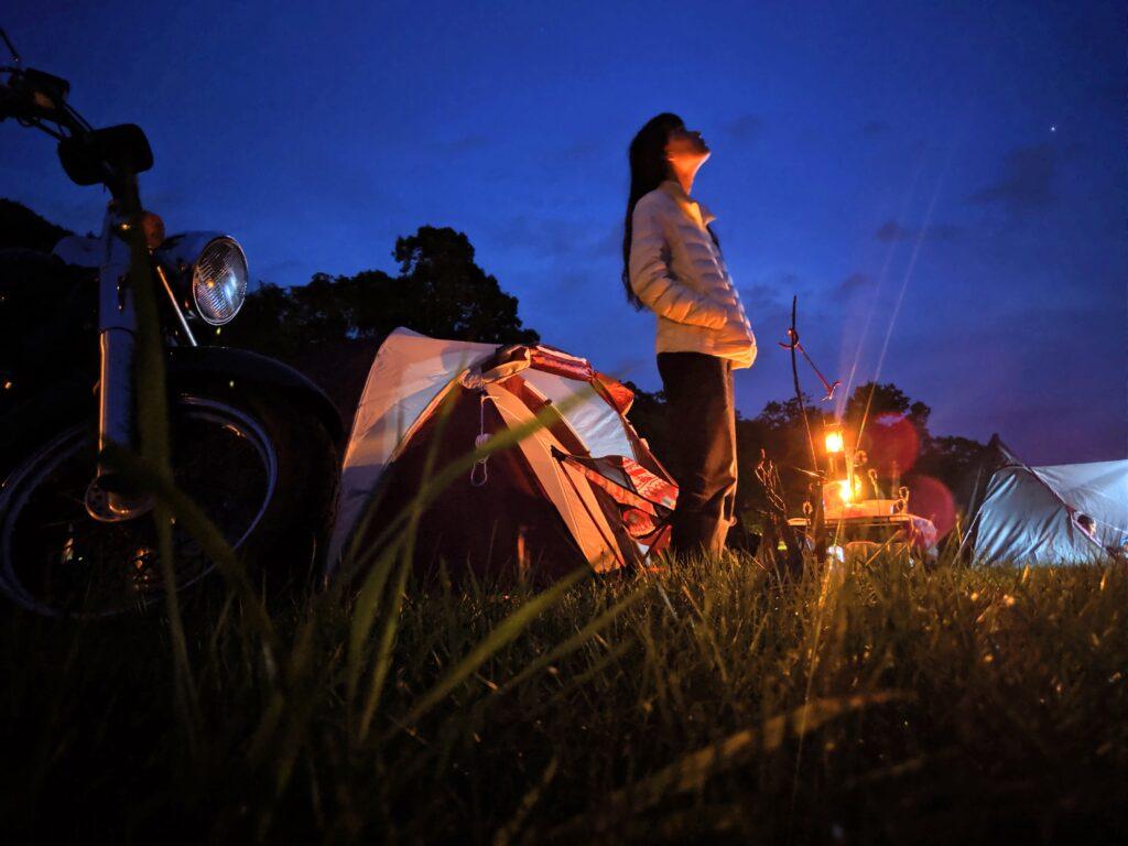 筆者のキャンプ風景